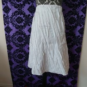 White pleated ruched skirt size large